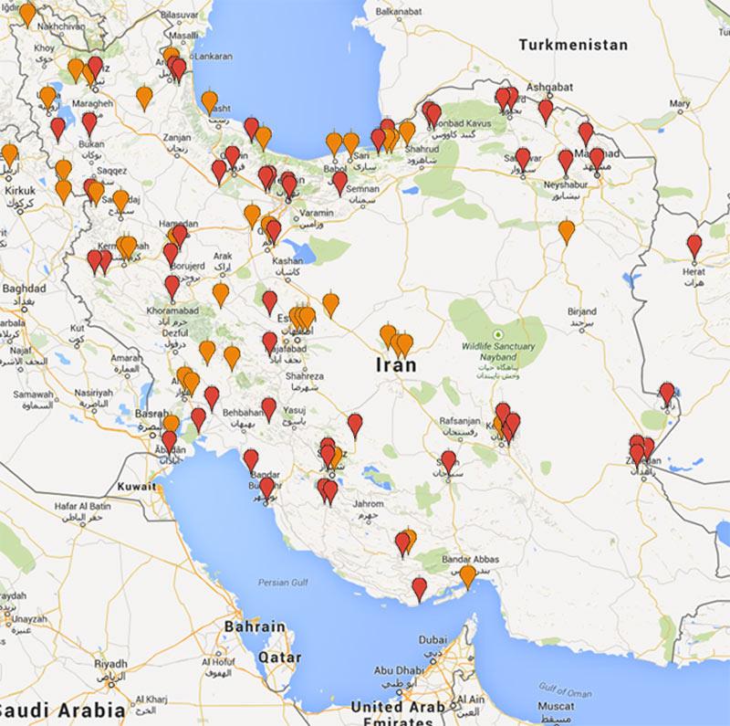 مشتریان دما بخار مشهد روی نقشه